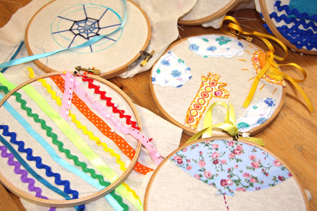 Embroidered appliqué hoops